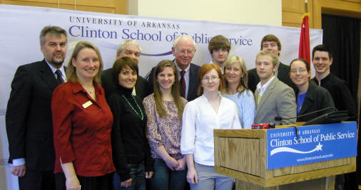 German ambassador Dr. Klaus Scharioth, far left, meets a group of Arkansas State University faculty and students, including Dr. Yvonne Unnold, second from left, and Dr. Clint Relyea, third from left, back row.
