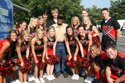 ASU cheerleaders pose with NBC's Al Roker. Photo courtesy of Jane Dennis.