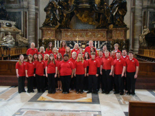 ASU Concert Choir in front of the main altar after their performance in the Vatican in Rome.