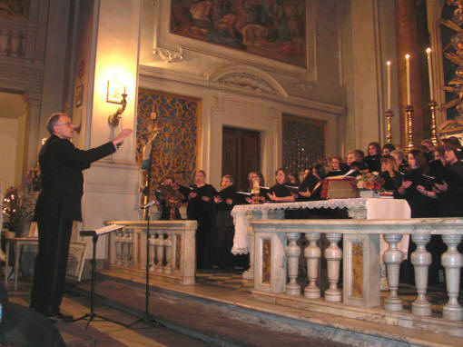 The ASU choir, under the direction of Dr. Dale Miller, performs in the Florentine church of Santa Maria de Ricci.