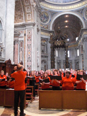 Dr. Dale Miller directs the ASU choir in St. Peter's Basilica, Rome.