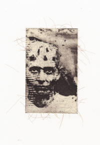 "Shelley Gipson's ""Ary, the Protector, 2010,"" is a work in intaglio, chine collé, and hair."