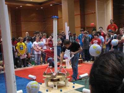 Students watch as robots compete in last year's Game Day, the culmination of the BEST program.