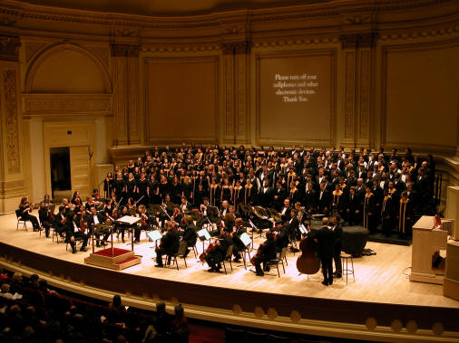 ASU's University/Community Chorus on stage in Carnegie Hall, 2004.