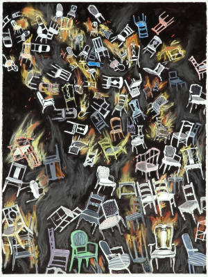 """Chairs Falling and Flaming,"" 2008, is a work in gouache, ink, watercolor, pastel, and pencil on paper, by Larry Edwards. It will be on display as part of the Bradbury Gallery's upcoming exhibition, ""True Grit,"" opening Thursday, Aug. 26, at 5 p.m."