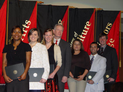 Kara Taylor, Melissa Griffin, Candice James, Dr. Robert L. Potts, Barbara Combs, Grant Harbison, and Jon Skinner are all assembled after the Student Honors Awards ceremony.