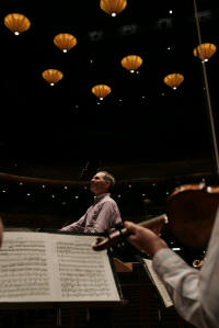 Maestro David Loebel, conductor of the Memphis Symphony Orchestra, pauses during a passage.