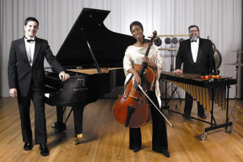 The Core Ensemble features, from left, pianist Hugh Hinton, cellist Tahira Whittington, and percussionist Michael Parola, along with Taylore Mahogany Scott as the performing actress.