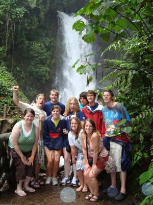 ASU students gather near a Costa Rican waterfall. Photo courtesy of Dr. Ruth Owens.