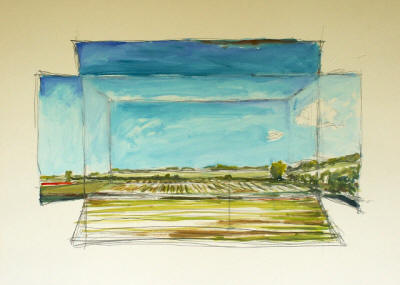 """Landscape in a Box,"" a watercolor by Norwood Creech, emphasizes the horizontal nature of the Delta landscape."