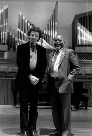 Doug Seroff, left, poses with the late Orlandus Wilson of the Golden Gate Quartet in Fisk Memorial Chapel, Nashville, Tenn. Photo by Robert Cogswell, courtesy of Doug Seroff.