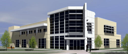 View from the northwest entrance of the Delta Center for Economic Development. Architectural rendering provided by Brackett-Krennerich and Associates Architects.