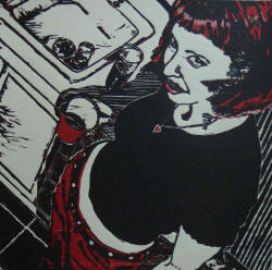 "Daryl DePry's 2008 ""The doctor reused the syringe; she's already dead"" (reductive woodcut), is part of this year's Delta National Small Prints Exhibition."