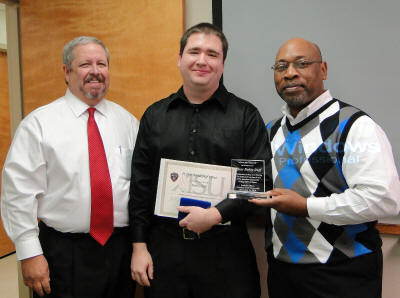 Dr. Rick Stripling, left, Officer Bobby Duff, and Dr. Lonnie Williams at the University Police Department Awards ceremony and luncheon, Dec. 14, 2010.