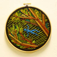 "Amanda Willett's ""Dreams and Memories, 1,"" embroidery on felt, is one in a series of four works on display, along with other works by Willett, in the Bradbury Gallery's 2010 Fall Senior Exhibition."