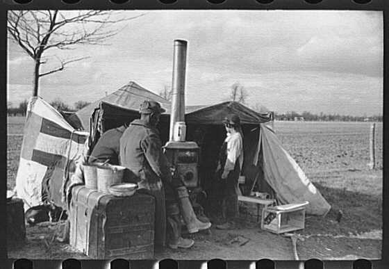 This Farm Service Administration photo by Carl Mydans depicts evicted farmers participating in the Missouri Roadside Demonstration near Sikeston, Mo. The photo is used courtesy of the Library of Congress.