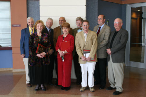 Photo credit: Jen Teeter. Back row, left to right, Dr. Stephen Replogle, Mr. Richard Carvell, Dr. Herman Strickland, Dr. Norman Stafford, Dr. Scott Darwin. Front row, Ms. Julia Lansford, Ms. Glenda Coppedge, Dr. Ross Marlay, Dr. J. Marlin Shipman.