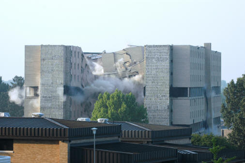 Twin Towers implosion, viewed from north of the site. Photo courtesy of Tom Moore, Office of the Chancellor.