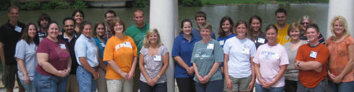 The fellows and mentors of Arkansas State University's GK12 program pose outside Cooper Alumni Center after a day of team-building exercise.
