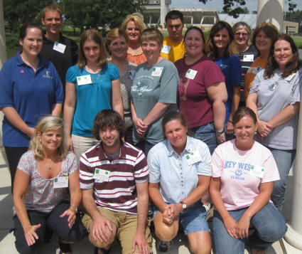 GK12 mentors--first row (kneeling, left to right): Teresa Sanders, Jacob Maxwell, Alisa Love, Kelly Hopper; second row, left to right: Jennifer McFarland, Heather Page, Gayberia Smith, Alayna Duren, Charity McKeen, Heidi Brewington; third row, left to right: Matthew Novak, Cindy Barnett, Marc Griffin, Melissa Moore, Meredith Schweighart, Teresa Sanders.