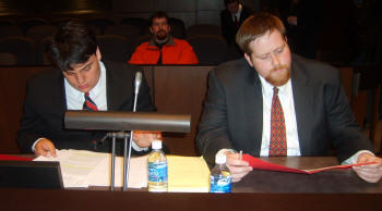 Ashton Gilstrap, left, and Brian Rambin were the regional second-ranked team at the American Collegiate Moot Court's Southwestern Regional Championships.