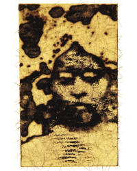 """Decima Nona Atropos, 2009"" by Shelley Gipson, is intaglio with chine collé and hair."