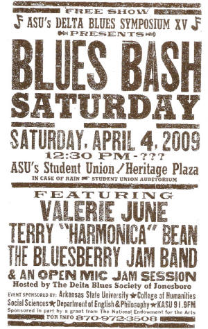 Facsimile show bill for Delta Blues Symposium XV: Celebrating a Century of Delta Culture.
