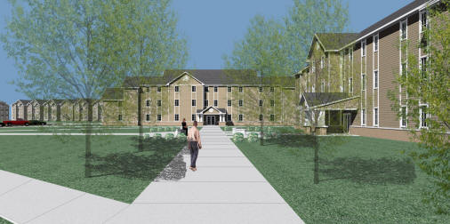 Honors College Residence Hall perspective rendering, looking north, courtesy of Brackett-Krennerich and Associates Architects.