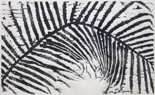 "Su-Li Hung's ""Palm Leaf, 2009,"" woodcut, will be on display Thursday, Jan. 21, as part of the Bradbury Gallery's Delta National Small Prints Exhibition."