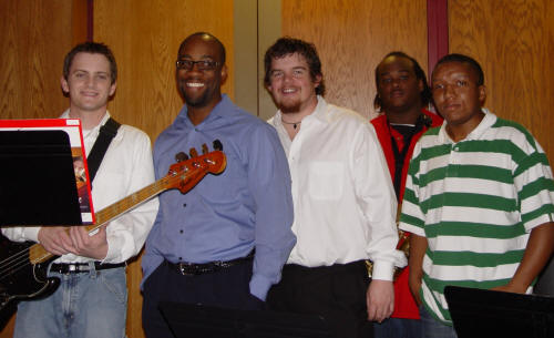 Dr. E. Ron Horton and members of the ASU Jazz Ensemble take a break from performing at the 2008 Diversity Excellence Awards.