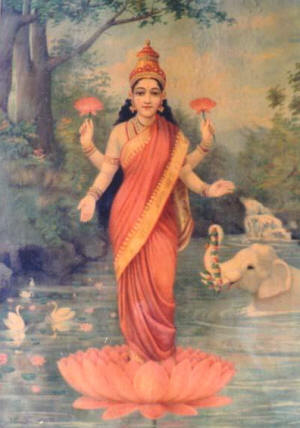 Painting of the goddess Lakshmi by Raja Ravi Varma (1848-1906); image courtesy of Wikimedia Commons.