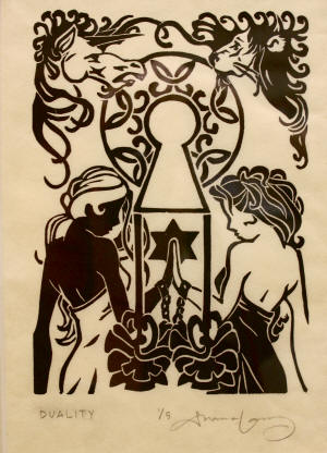 "Shannon Lamb's ""Duality, 2009,"" linoleum block print, is on display in the Bradbury Gallery's Fall 2010 Senior Exhibition."