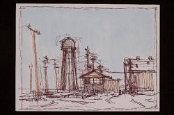 "Norwood Creech's ""Lepanto Water Tower and Warehouse,"" a drawing, will be on display beginning Thursday, Jan. 14, at the Southern Tenant Farmers Museum in Tyronza."