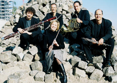 The Ma'alot Quintet is (back row, from left) Volker Tessman, bassoon; Ulf-Guido Schafer, clarinet; and Volker Grewel, horn; (front row, from left) Stephanie Winkler, flute; and Christian Wetzel, oboe.