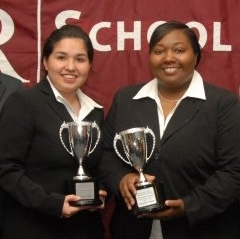 Lilia Pacheco, left, and Jervonne Newsome, right, placed 5th in the nation for oral advocacy in the American Collegiate Moot Court National Championships, held Saturday-Sunday, Jan. 15-16, at Florida International University College of Law.