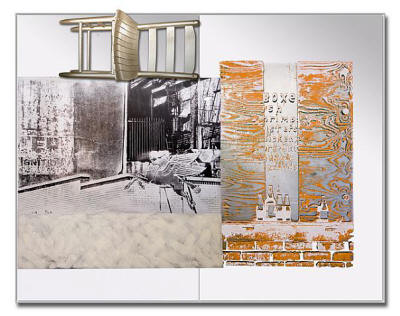 "Robert Rauschenberg's ""Pegasits,"" ROCI USA (Wax Fire Works) 1990, is what Rauschenberg labeled a ""combine,"" using acrylic, fire wax, and a chair on stainless steel. This assemblage will be on display at ASU's Bradbury Gallery beginning Thursday, March 12, at 5 p.m."