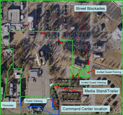 Twin Towers controlled implosion safety zone perimeter map indicates public viewing area, media venue, and parking. Map provided by ASU Facilities Management.