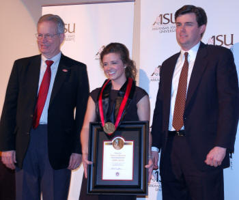 From left, ASU Chancellor Dr. Robert Potts, Anna Callaway, and Perry Wilson gather shortly after Wilson presented Callaway with the 2010 Wilson Award, ASU's highest student honor.