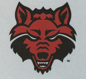 ASU's Red Wolf logo was designed in-house by Publications and Creative Services team, with  Ron Looney, executive director, Mark Reeves, art director, Heath Kelly, Mary Williams, and Michael Johnson, graphic designers, and Cheryl Wright, secretary.