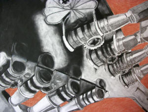 "Meaghan Rice's ""Head,2010,"" charcoal and conté crayon on paper, delineates the intricate gears and tuning pegs of a mandolin."