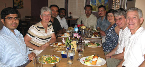 From left, Abdul Mannan, Dr. Pam Weathers, Dr. Fabricio Medina-Bolívar, Dr. Ganapathy Sivakumar, Dr. Chunzhao Liu, Dr. Brett Savary, Dr. Argelia Lorence, Dr. Wayne Curtis, Penn State, and Dr. Joe Chappell, University of Kentucky dine together. Photo courtesy of Dr. Chunzhao Liu.