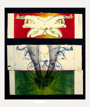 "Mihaela Savu's ""For You, 2007,"" a work in collage, red thread, and silkscreen monoprint, will be on display as part of the Bradbury Gallery's Fall 2010 Senior Exhibition."