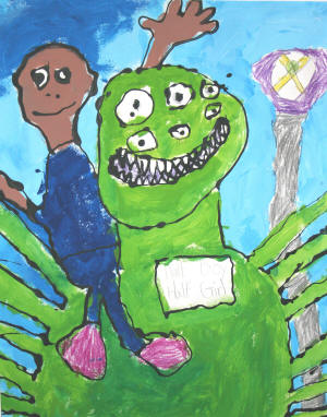 """Me and Monster,"" 2007, by Shawn Curtis of Castleberry Elementary School, Newport, was a winner in last year's TACE competition. It was created when Curtis was in second grade."