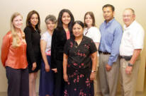 Left to right is Dr. Carol Cramer, Ritika Gera of Jonesboro, Dr. Anne Grippo, Swati Mishra of Jonesboro, Dr. Malathi Srivatsan, Kristen Shelton of Benton, Dr. Fabricio Medina-Bolivar and Dr. Gil Fowler.