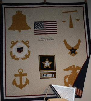 A U.S. Army appliqued quilt is among the works on display during the Southern Tenant Farmers Museum Quilt Festival Saturday, March 6.